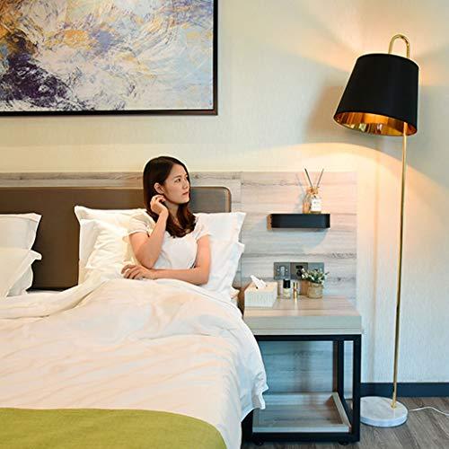 Weiyue lámpara de Piso- Lámpara de pie Dormitorio Sala de Estar Lámpara Vertical de mármol Creativa IKEA, Interruptor de pie, Blanco, Negro (Color : Black, Size : 183x27.5cm)