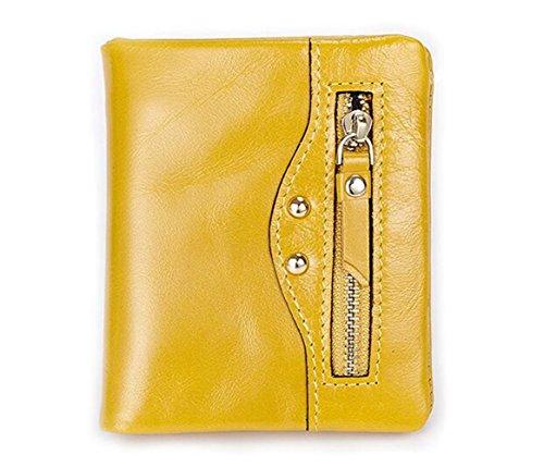MeiliYH Pacchetto di carta di credito della borsa del motociclo di paragrafo di Ladies Leather Wallet giallo_limone