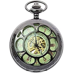 itemstoday Antique Hollow Black Case Automatic Men's Pocket Watch FOB with Chain
