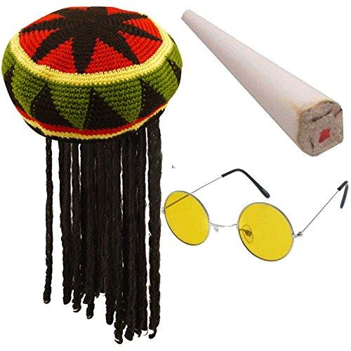 Labreeze Adults Rasta Jamaican Hat Fake Spliff Yellow Glasses Caribbean Fancy Dress Set