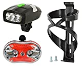 #7: Dark Horse Combo Offer- Free Black Bottle CAGE Worth RS.145 - Bicycle 3 LED 3 Mode Front Light & Horn with 9 LED 7 Mode Tail Light with Mounting Clamps Free Black Bottle CAGE with Bolts Free
