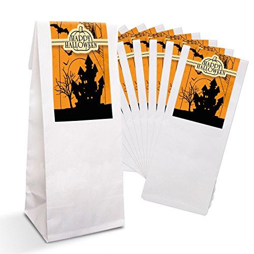 25 kleine weiße Geschenktüten für Weihnachten + Pergamin Papier Einlage (7 x 4 x 20,5 cm) und 25 Aufkleber Sticker HALOWEEN SPUKSCHLOSS GEISTER GRUSEL Kindertüten Mitgebsel Geschenk-Verpackung