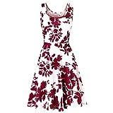 Feitong Damen T-Shirt Frauen ärmellos Drucken Sommer Strand eine Linie Casual Dress florales Kleid(EU-38/CN-M, Rot)