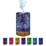 Souarts 3D Glass Aroma Diffuser Duftlampen 3D Glas 100ml Nachtlampe mit 7 Farben Luftbefeuchter Nachtlicht Oil Düfte Humidifier für Badezimmer Wohnzimmer