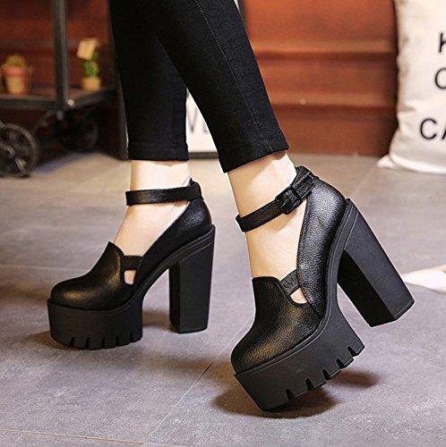 GTVERNH-black testa rotonda super scarpe con tacchi spesso fondo spesso tacco impermeabilizzare la notte negozio solo scarpe una parola fibbie con superficiale bocca scarpe da donna,39 Thirty-seven