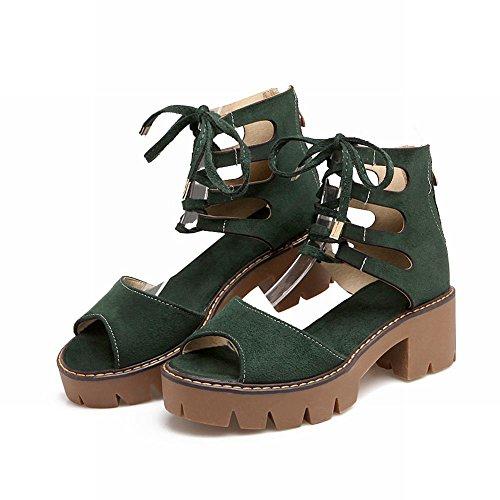 Mee Shoes Damen bequem chunky heels Reißverschluss Sandalen Dunkelgrün