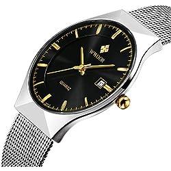 Herren 's Ultra Dünn Business Kalender Quarz Armbanduhr Herren Fashion Edelstahl Mesh Band Armbanduhr Schwarz