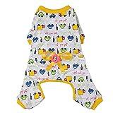 Imported Pet Dog Puppy Cotton Clothes Soft Pajamas Cartoon Jumpsuit Apparel Yellow M