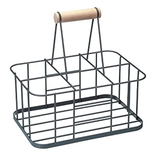 KitchenCraft Living Nostalgia Wire Metal Milk Crate/Bottle Carrier, 29 x 20 x 13 cm - Grey