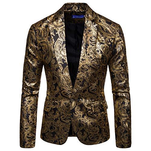 crazy player Herren Slimt Fit Sakko Freizeit Anzugsjacke Leichter Bunter Glitzer Blazer mit Pattentaschen für Feier Party Hochzeit Ostern in Rot Gold Blau -
