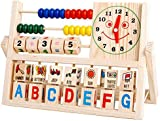 Rcool Baby Kids Wooden Number Alphabet Pattern Blocks Versatile Flap Abacus Clock Early Learning Tool Educational Toy Wisdom Development Puzzle Toy Child Gift
