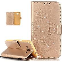 ikasus® - Carcasa para Galaxy Grand Prime,diseño en piel con relieve de flores y mariposas y con brillantes, función de atril, cierre magnético, bolsillo para tarjeta de crédito, para Samsung Galaxy Grand Prime SM-G530H SM-G530F G530
