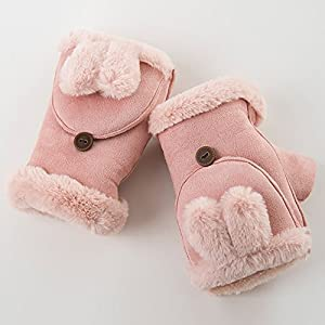 Unbekannt XIAOYAN Handschuhe Frauen Handgelenk Länge Halbe Finger, Casual Cartoon Winter Handschuhe Warm Halten Schöne Mode Herbst Winter für 18-49 Jahre alt Bequem