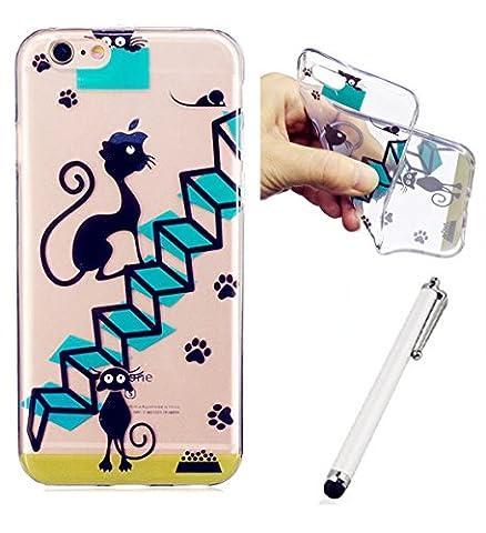 WYRHS iphone 7 Case Hülle Schutzhülle Silikon Hülle Ultra dünne CaseTPU Durchsichtig Gel Tasche Bumper Schale -Katze Und Treppe +Metall Berühren Stift