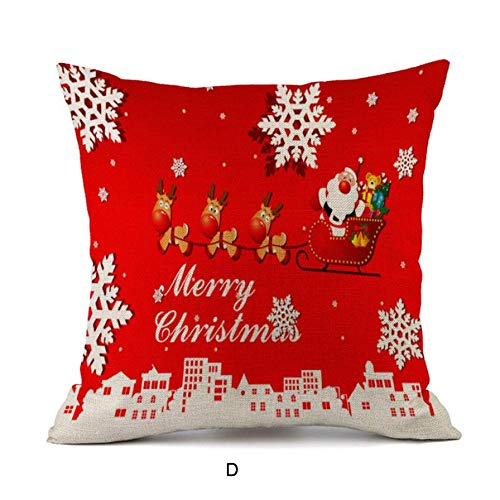 SDJBZ Kissenbezug 45 * 45 Happy Christmas Kissenbezüge Leinen Sofa Kissenbezug Home Decor Kissenbezug