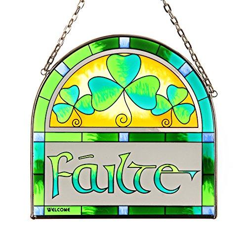 Eburya Failte - Handbemaltes irisches Fensterbild aus Buntem Echtglas