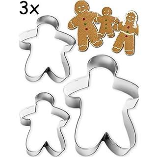 HOMETOOLS.EU® - 3 Ausstech-Formen Pfefferkuchen-Mann | Mann Frau Kind für Lebkuchen Figuren Kekse, Gebäck | 3 Größen, Edelstahl 3 Stück
