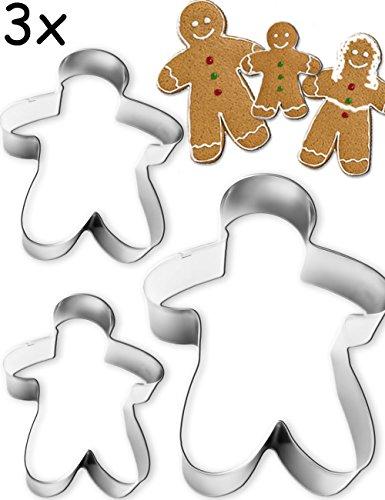usstech-Formen Pfefferkuchen-Mann | Mann Frau Kind für Lebkuchen Figuren Kekse, Gebäck | 3 Größen, Edelstahl 3 Stück ()