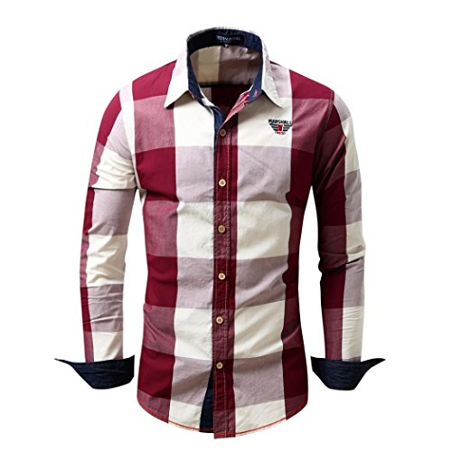 TEBAISE Urlaub Oktoberfest Mode Herren Wandern Aktiv Bachelor Party Kariertes Hemd Langarm-bügelfreies Freizeithemd aus Baumwolle Slim Fit Plaid Top(Rot,EU-56/CN-2XL)