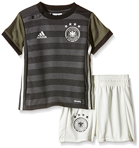 adidas Baby Trikot Set DFB Auswärts, Dark Grey Heather/Off White/Base Green S15/Black, 68, AA0109 (Base Gestreifte)