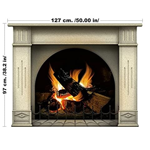 Amazing Fireplace with Log Fire Wall Art Interior Design Decal - Large size custom sizing available (127 cm x 97
