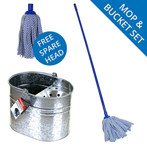 51UlHj191QL - BEST BUY# Mop & Bucket Set Galvanised Metal Buckets Microfibre Cloth Strip Cotton Mops (Cloth Strips) Reviews and price compare uk