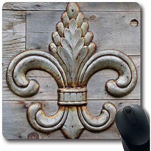 Preisvergleich Produktbild Mouse Mat, Detail Lis Tin Fleurdelis Symbolizing Fleur Orleans Pattern Vintage Iron Insignia Non-Slip Rectangle Gaming Mouse Pad, 18*22Cm