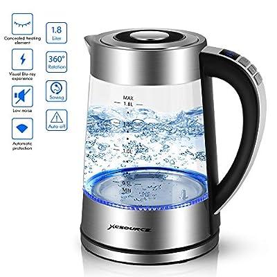 Bouilloire électrique thermostat réglable Verre pour thé café, Arrêt automatique, Protection anti-ébullition, Bouilloire de ebullition rapide avec éclairage LED et échelle de capacité de 1,8 L 2200W