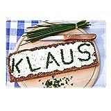 Tischset mit Namen ''Klaus'' Motiv Schnittlauch - Tischunterlage, Platzset, Platzdeckchen, Platzunterlage, Namenstischset