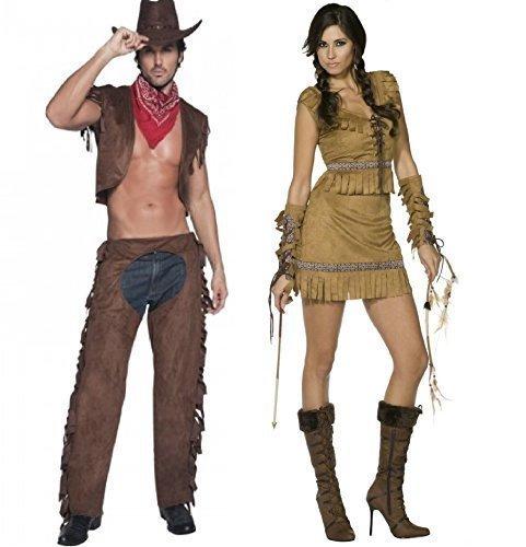 Fancy Me Da donna & da uomo SMIFFY'S Cowboys & indiani Wild West Western in coordinato Cowboy sceriffo Native indiana Squaw Pocahontas coppia di costumi e feste in maschera