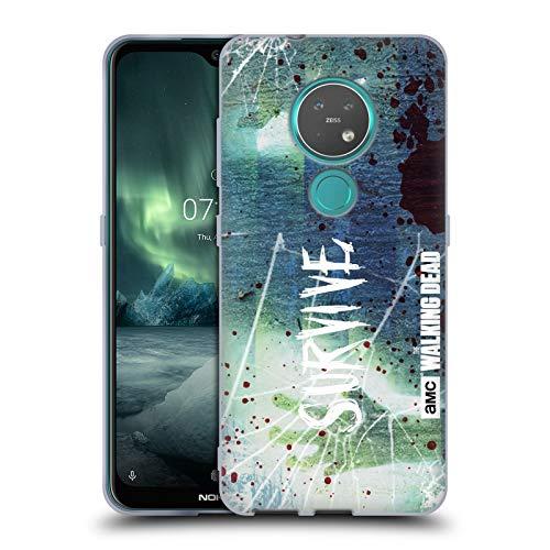 Offizielle AMC The Walking Dead Überleben Glas Typografie Soft Gel Huelle kompatibel mit Nokia 7.2