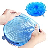 GUO Silicone Stretch Lids 6 Pack Suction Lid - Multi Size Stretchable Covers for Bowls, Cups, Pots, Can, Mason Jar, Food Fresh Saver Cover, Freezable Microwavable Cover (Blue)