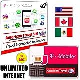 Unbegrenzt Prepaid-SIM-Karte fur USA, Canada und Mexiko - UNBEGRENZT INTERNET auf 4G / LTE, Unbegrenzt Telefonate und Internationale SMS + tethering (Hotspot) für laptop oder tablet  (15 Tage)