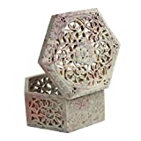 Store Indya Hand Carved Hexagon Shaped B...