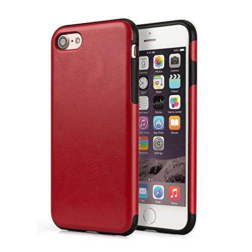 VAPIAO Leder Schutzhülle Back Hard Cover Case für Apple iPhone 7 in Rot Rot