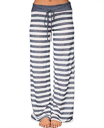 FASTYLING Damen Sporthose lang Freizeithose Ladies Floral Print Wide Leg Long Trousers