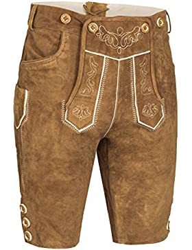 Herren Trachten Lederhose kurz   inklusive Träger   in verschiedenen Farben   schwarz, braun, gespeckt   100%...