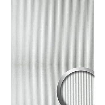 Revestimiento mural autoadhesivo con ranuras verticales S WallFace 11322 WAVE plata mate metalic 2,60 m2