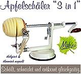 Made for us Profi Alu- Apfelschäler Apfelschneider Apfelentkerner Schälmaschine, in Cremeweiss, original