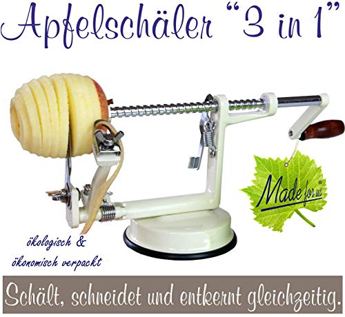 Profi Alu- Apfelschäler Apfelschneider Apfelentkerner Schälmaschine, in Cremeweiss, original Made for us
