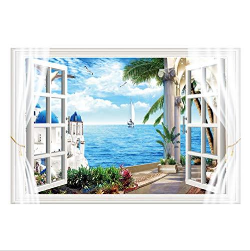 Lakmv 3D Wandaufkleber Natur St. Tony Island Mediterrane Landschaft Fake Window Home Aufkleber 60 × 90Cm