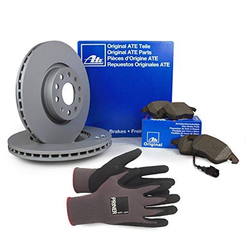 Preisvergleich Produktbild Inspektionspaket ATE Bremsen Set inkl. Bremsscheiben 312 mm und Bremsbeläge für vorne enthalten,  100% passend für Ihr Fahrzeug,  inkl. Priner Montagehandschuhe,  AN108