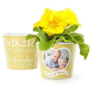 Facepot Goldene Hochzeit Geschenk Blumentopf (ø16cm) | Deko Zum 50. Hochzeitstag oder Goldhochzeit mit Herz Bilderrahmen für 1 Foto (10x15cm) | Glücklich Verheiratet - 50 Jahre