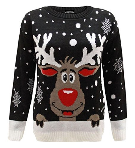 2a6dcbf03dc B&S Trendz Womens Mens Xmas Novelty Jumper Rudolph/Black M/L (12-14). by  riddled with style