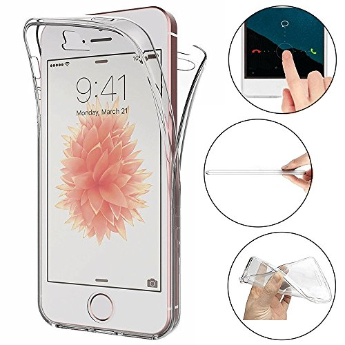 ToDo Für iPhone 5 / 5S / SE Hülle, 360 Grad Full Body Cover Transparent TPU Silikon HandyHülle Ultra Dünn Weiche Leicht Tasche Etui Protective Case Stoßfest Kratzfest Schale