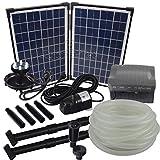 Agora-Tec® AT-Solar Bachlaufpumpen - Set 20W-BLH mit Akku und 6- fach LED Ring inklusive 9 Meter Bachlaufschlauch und LED Halterung, Hmax.: 1350l/h Förderhöhe: 3,05 m bei Verwendung eines Schlauches