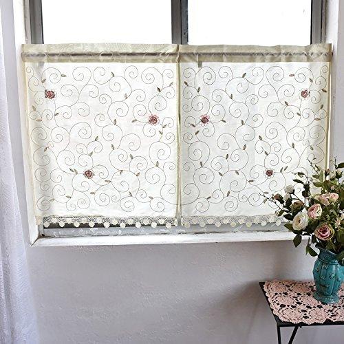 Land Küche Vorhang, Cafe Gardine, Esszimmer, Mustern der Blätter und Blumen, H 35 inch * W 60 inch (90x150cm) (Land Vorhänge Küche)