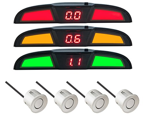 VSG® PRO Multi-Farbdisplay Einparkhilfe mit eingebauten Pieper inklusiv 4 Sensoren in Silber für hinten