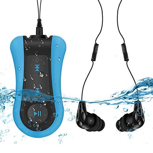 Mp3 Subacqueo 8GB, AGPTEK Clip Lettore MP3 Impermeabile 8GB con Cuffie per Nuoto e Correre, Color Blue Nero