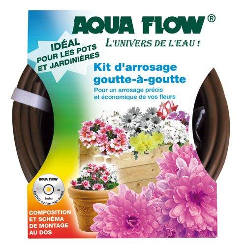Kit complet Goutte à Goutte Aquaflow Fleurs Jardinières Balcons tuyau+goutteurs +vanette +derivations + coudes + bouchons ++